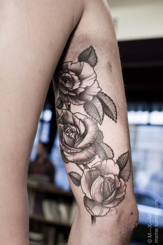 Inner Upper Arm Tattoo: Roses Tattoo On Upper Arms - Google Search