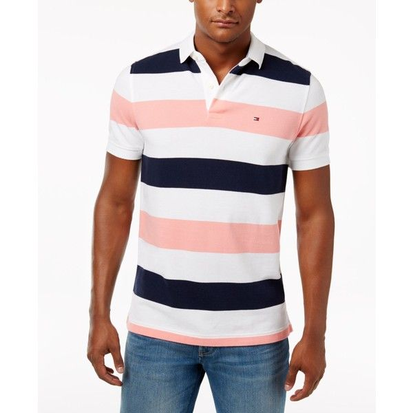 Tommy Hilfiger Men's Classic-Fit Striped Cotton Polo (€54) ❤ liked on Polyvore featuring men's fashion, men's clothing, men's shirts, men's polos, bright white, mens striped shirt, mens cotton shirts, men's cotton polo shirts, mens polo shirts and mens classic fit shirts