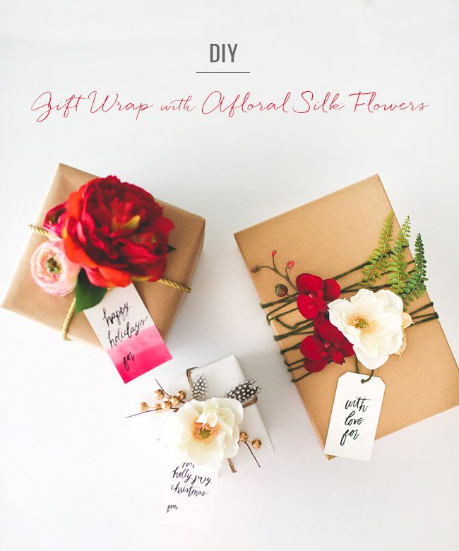 DIY Gift Wrap with Afloral Silk Flowers