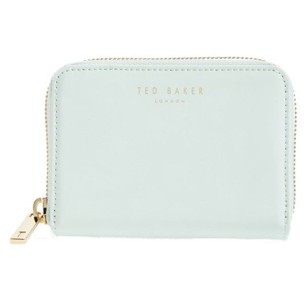 Women's Ted Baker London Beryl Leather Mini Purse ($69) ❤ liked on Polyvore featuring bags, wallets, mint, ted baker bag, leather wallets, ted baker, mint green bag and genuine leather wallet