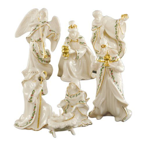 Lenox Holiday Miniature Nativity S/7. Crafted of Lenox ivory fine china. All in ivory fine china accented with 24 karat gold and our popular Holiday motif. This seven-piece nativity set includes the Holy Family, three kings, and trumpeting angel. 7 piece nativity set. Accented with 24 karat gold. Item Dimensions: width: 0, height: 475. Guarantee period: Covered under the Lenox Lifetime Breakage Replacement Program. Crafted of hand-painted porcelain.