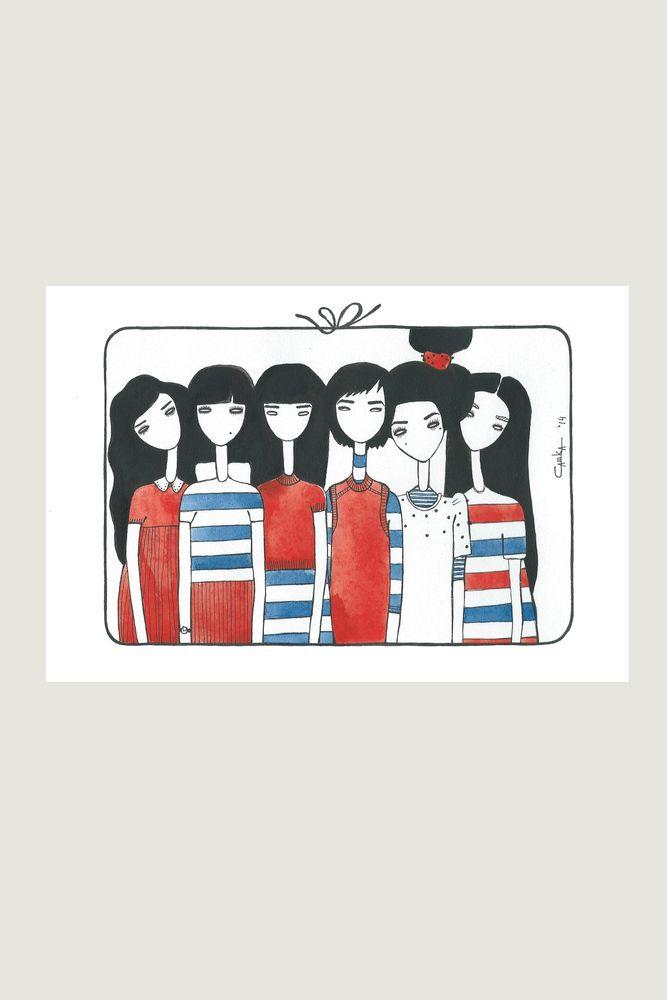 открытка №28  #card #otkritka #happy #postcrossing #girl #red #blue #black #postcard #postal #watercolor #color #sketch #art #eyebrows  #hair #heart  #sea #azure #princess  #brunette