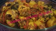 Poulet au four avec des poivrons rouges, champignons et pommes de terre