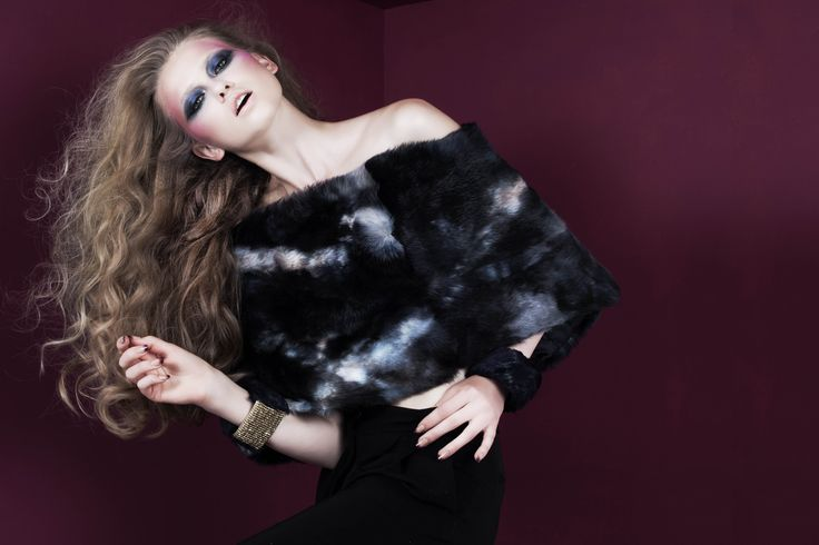 """""""Peacock"""" velvet cuffs with gold elastic band; Blue and grey rabbit fur stole // © MORECCO 2014"""