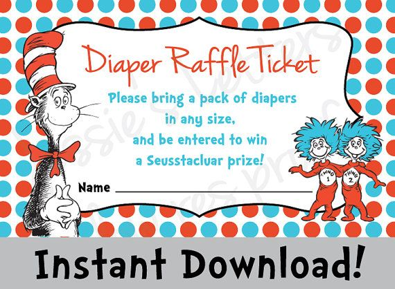 Dr. Suess Baby Shower Diaper Raffle - INSTANT DOWNLOAD