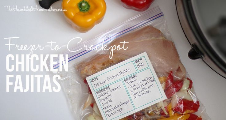 What I love about this recipe for freezer-to-crockpot chicken fajitas in particular is that it's very healthy. The chicken, peppers, and onions are all fresh and you create your own simple sauce by adding apple cider vinegar, honey, and seasonings.