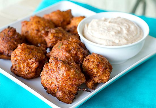 conch fritters nom nom (omit sugar/tapioca starch for flour, quarter-tsp soda + half-tsp cream of tartar for powder, three-eighths-tbsp lemon juice + almond milk to make three-eighths liquid for buttermilk, tbsp saturated fat for frying; remoulade for dipping)