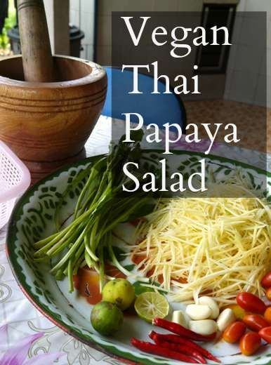 Thai Green Papaya Salad, Tom Sum. Find out how we make it in Thailand here. You'll find more on vegetarian and vegan travels and food at Renegade Travels travel blog.