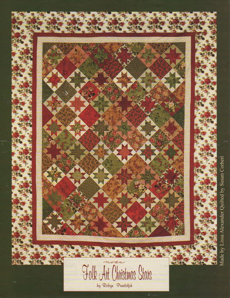 Christmas Quilt Patterns Moda : Folk Art Christmas Stars by Robyn Pandolph. Quilt pattern compliments of United Notions / Moda ...