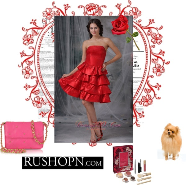 """Red A-line Strapless Knee-length Ruffled Layers Taffeta Homecoming Dress"" by prettydressesforyou on Polyvore"