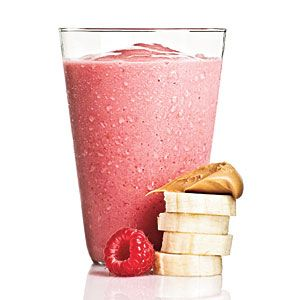 Smoothies Under 250 Calories | Peanut Butter Berry | CookingLight.com Peanut Butter Berry  1/4 cup 1% low-fat milk + 1/2 medium ripe banana + 1 tablespoon creamy peanut butter + 1 cup fresh or frozen raspberries + 1/2 cup crushed ice  237 CALORIES