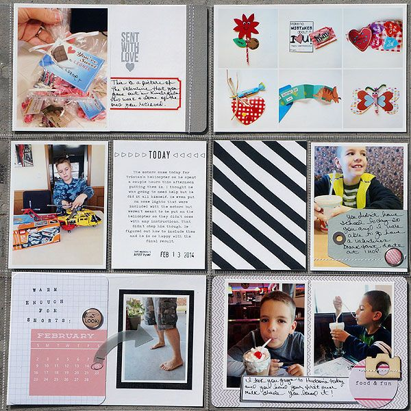 I like the little bits and pieces collage in upper right; does not look too busy because background is all white.  2014 Project life week 7 right by Kelleanne at @Studio_Calico