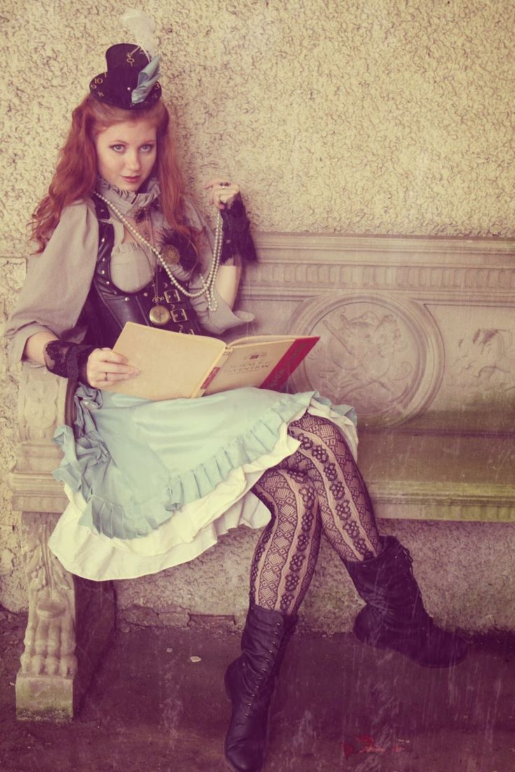 Steampunk Alice In Wonderland Cosplay  (top hat with clock, skirt, corset, necklaces, gloves)