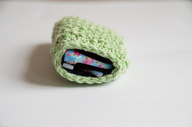 Crocheted sunglass pouch - green. $25.00, via Etsy.