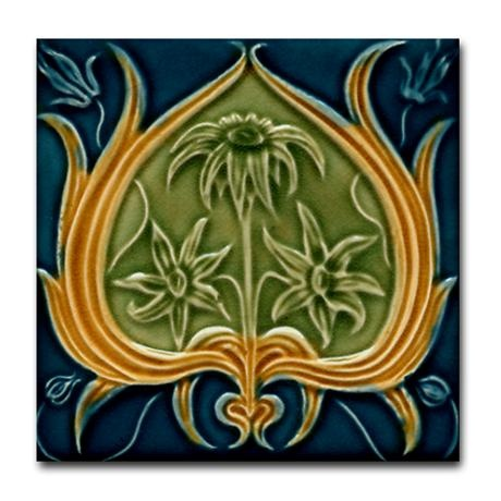 Art nouveau tile coaster...in the colors of my kitchen!