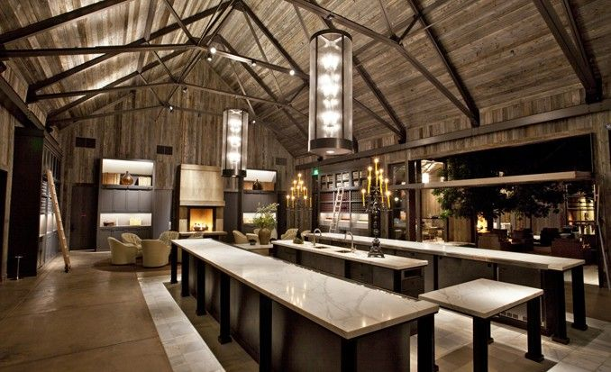 Large communal tables are great for wine tasting and serving.