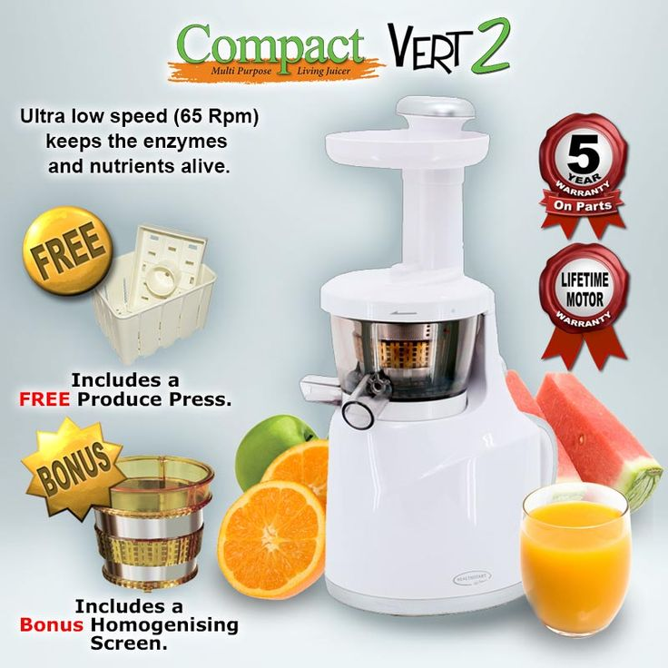 Vert 2 Cold Press Juicer. The Vert 2 stands out from its competitors in terms of quality, style, functionality and value. The New Vert 2 had evolved from 3 years of development and market testing and we believe it is without doubt the best Vertical Juicer on the world market. The Compact Vert 2 Juicer comes with a Lifetime Motor Warranty against manufacturing faults and defects and a 5 Year warranty on parts. http://www.tohealth.com.au/product/cold-press-juicer-compact-vert-2/
