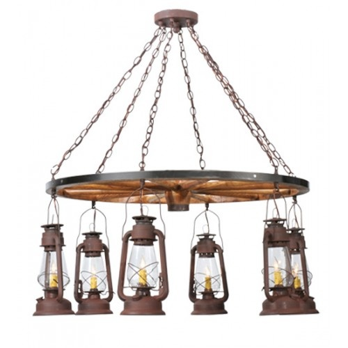 """40"""" Wide Miners Lantern Wagon Wheel 6 Light Chandelier - #117204 - $2376.00"""