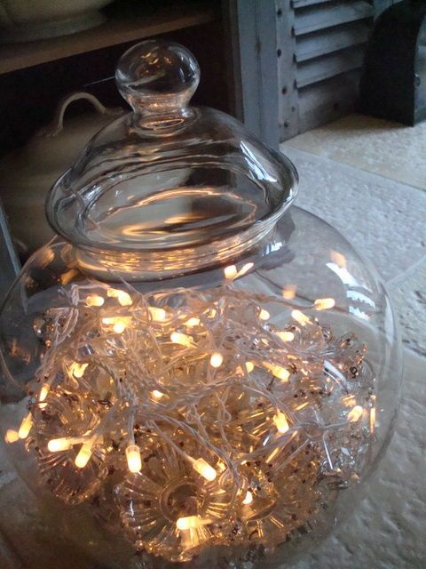 Bundle of #fairylights in a glass jar - lovely light decoration