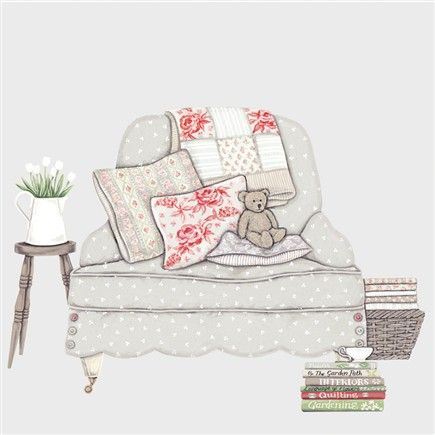 Greeting Cards » Bear On A Chair Greetings Card » Bear On A Chair Greetings Card - Sally Swannell