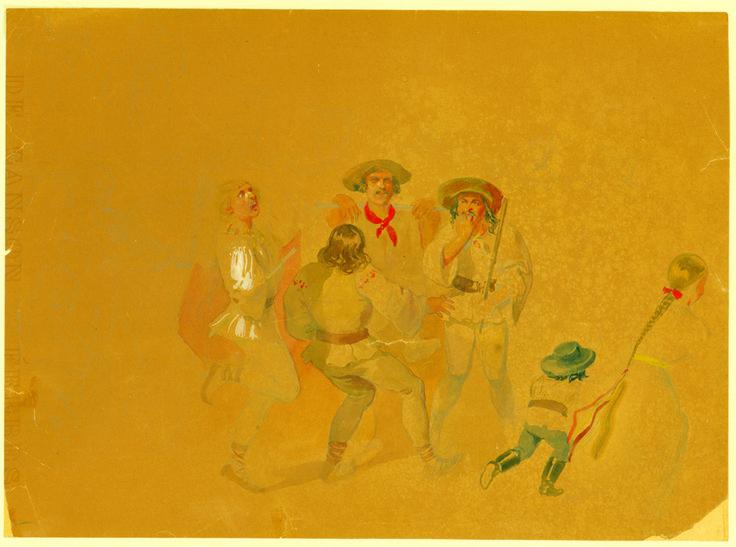 Franz Neuhauser the Younger - Schiţă pregătitoare pentru litografie Târg din Transilvania