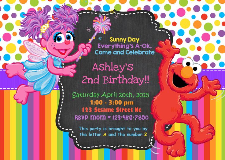 "Elmo and Abby Birthday Invitations- Custom Sesame Street Invitations- Elmo Birthday- Abby Cadabby- 5"" x 7"" size- Digital Item- Print at Home by OrangeOrchidDigital on Etsy https://www.etsy.com/listing/262689898/elmo-and-abby-birthday-invitations"