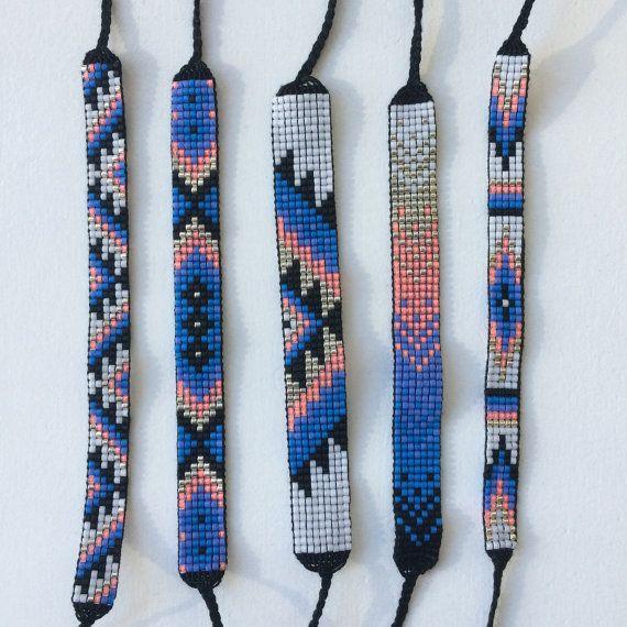 Seed Bead Friendship Bracelet - Silver, Neon Peach, Blue, Teal