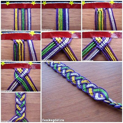 Friendship bracelets; cannot open link, but picture shows how-to