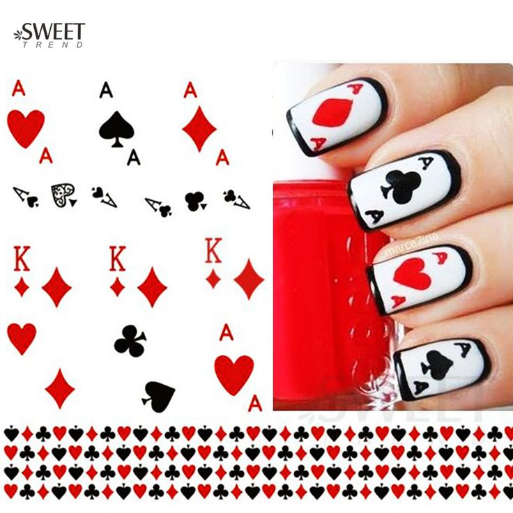 Buy 1 Sheet Nail Art Stickers Nail Water Transfer Poker Aces Nail Tips Decals Decoration DIY Watermark Manicure Tools STZ252 at JacLauren.com