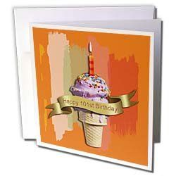 """Beverly Turner Birthday Design - Happy 101st Birthday, Strawberry Ice Cream Cone on Abstract, Orange - Greeting Cards-6 Greeting Cards with envelopes by Beverly Turner Photography. $10.49. Happy 101st Birthday, Strawberry Ice Cream Cone on Abstract, Orange Greeting Card is a great way to say """"thank you"""" or to acknowledge any occasion. These blank cards are made of heavy duty card stock with a gloss exterior and a matte interior for smudge free writing. Cards are creased..."""