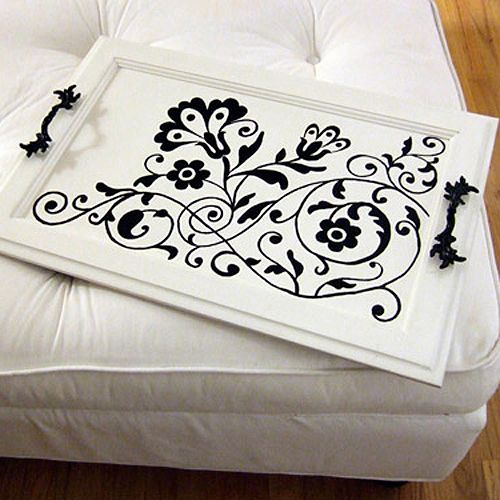 Serving Tray made out of an old cabinet door, stencils, and handles you can pick…