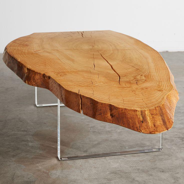 Oak crosscut coffee table.