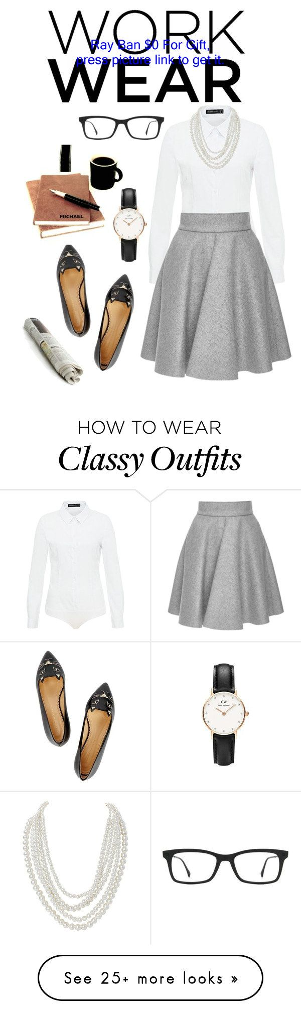 Work Wear by msh820 on Polyvore featuring Hallhuber, MSGM, Ray-Ban, Charlotte Olympia, Humble Chic and Daniel Wellington