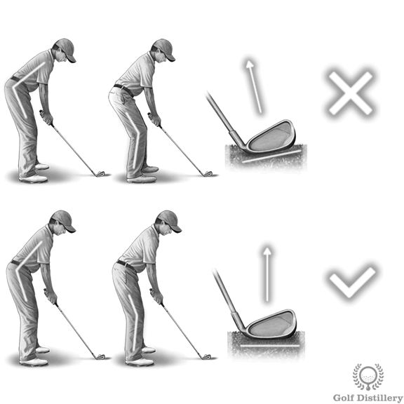 A club resting on its heel can lead to a pull