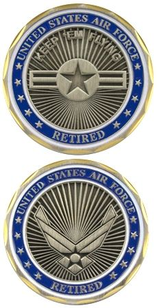US Air Force Retired Challenge Coin - Meach's Military Memorabilia & More