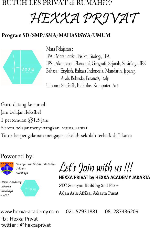Dibuka Pendaftaran Les Privat Jakarta