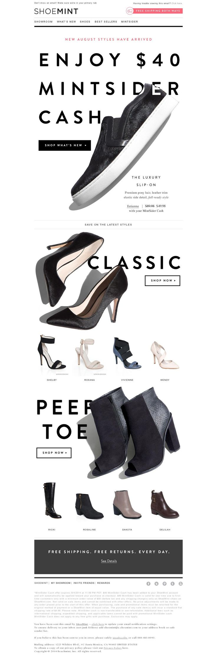 The placement of the shoes prompts you to scroll this email from Shoe Mint. I also like the loose kerning and leading in the headlines, though I'm not a fan of that little bit of reverse type in the main headline. The use of it is so slight that it would be better to just scoot the shoe down a tiny bit and not use it at all.