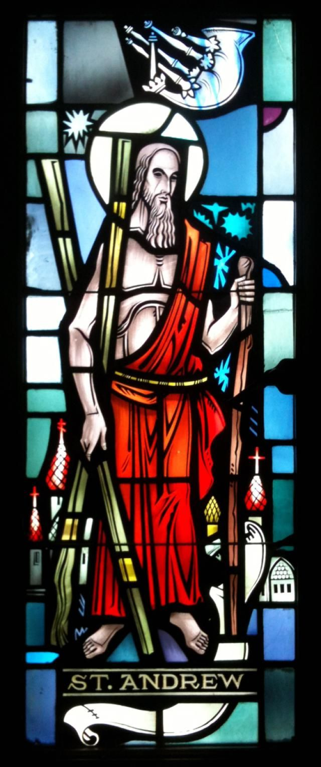 Pray the Saint Andrew Christmas Novena: A stained-glass window of Saint Andrew, Apostle, in Saint Peter's Cathedral, Rockford, Illinois.