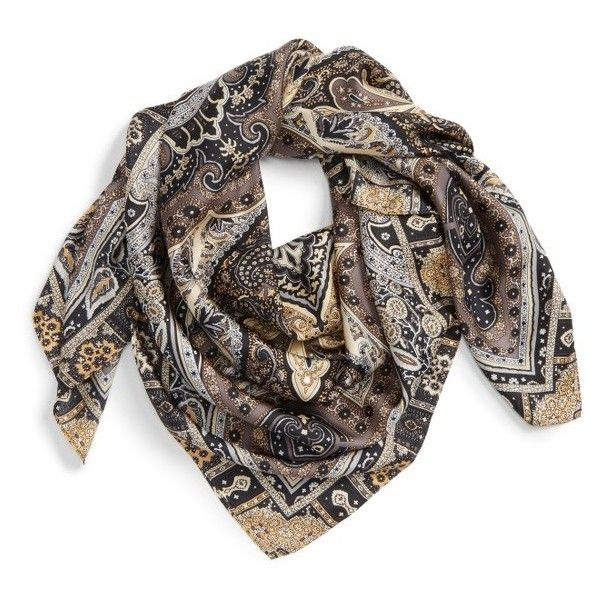 Women's Echo Paisley Silk Scarf ($125) ❤ liked on Polyvore featuring accessories, scarves, black, paisley shawl, silk scarves, echo scarves, pure silk scarves and square silk scarves