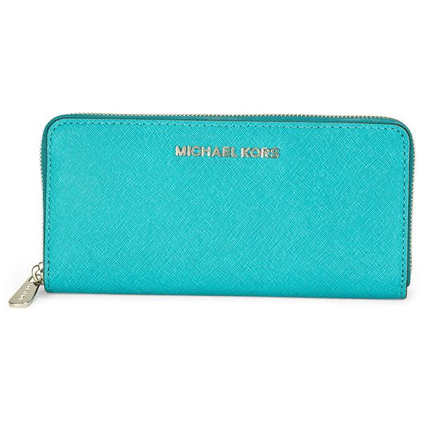 Michael Kors Leather Continental Wallet - Tile Blue ($97) ❤ liked on Polyvore featuring bags, wallets, clutches, purses, credit card holder wallet, leather pocket wallet, leather bags, leather continental wallet and michael kors bags