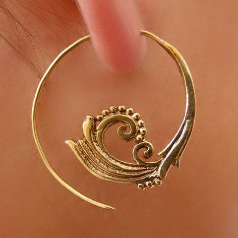 Brass Earrings - Brass Spiral Earrings - Gypsy Earrings - Spiral Jewelry - Brass Jewelry - Ethnic Earrings - Ethnic Jewelry (Code: EB6)  Beautiful hook brass earrings delicately carved in a spiralling leaf shape.  Suitable for normal ear piercing.  Length: 50 mm Nickel free!  sold as pair only!  $22