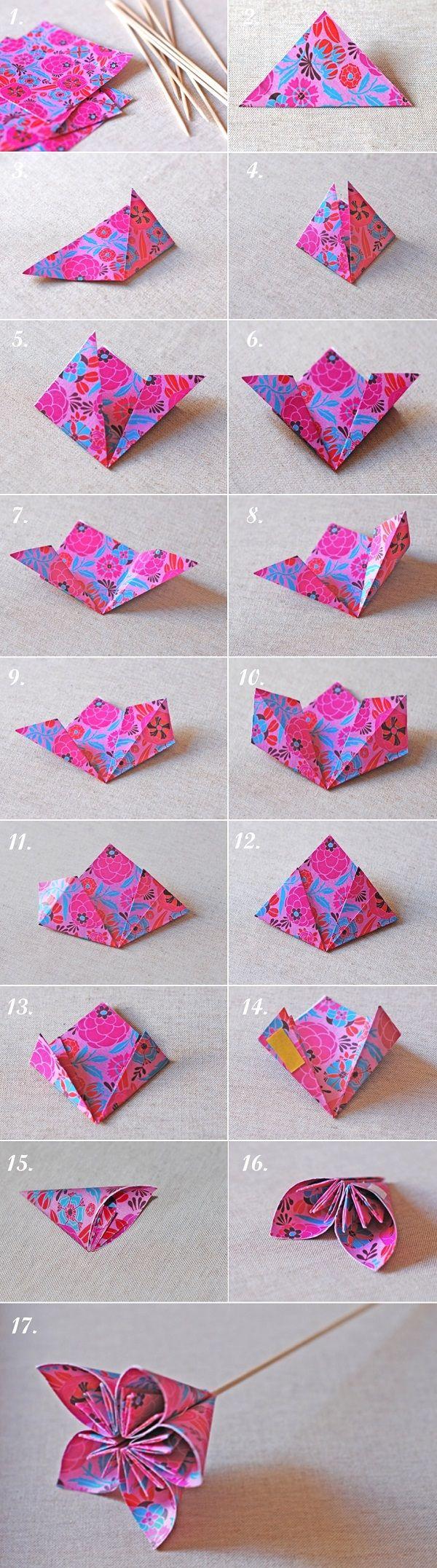 Origami kusudama flowers