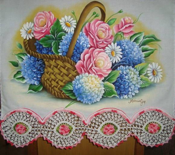 PAno de copa com pintura em tecido e croche tecido estilotex 100% algodao R$ 75,00