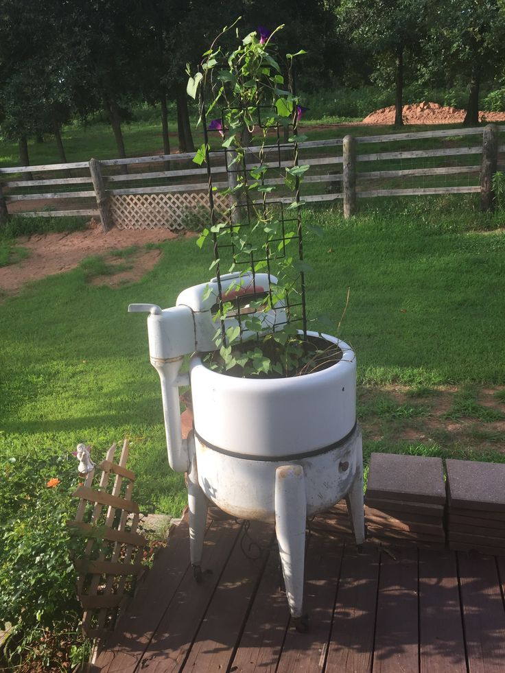 Repurposed antique washing machine | Outdoor Ideas and ...