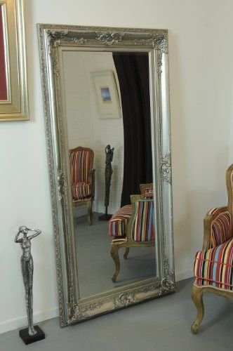 Extra Large Full Length Antique Silver Mirror Beautiful Ornate Baroque Frame 5ft11 X 2ft11