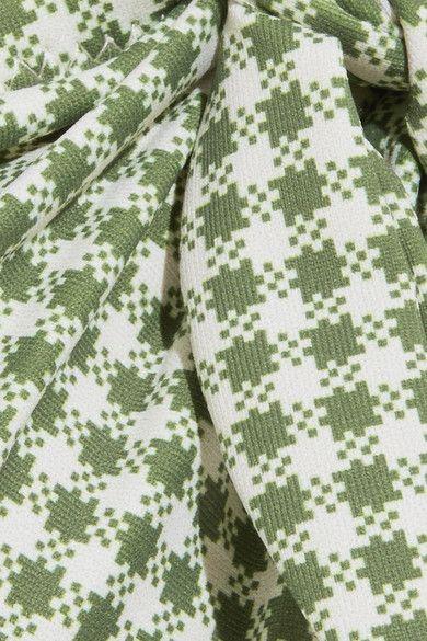 Eberjey - Betty Lola Cutout Gingham Bandeau Swimsuit - Light green