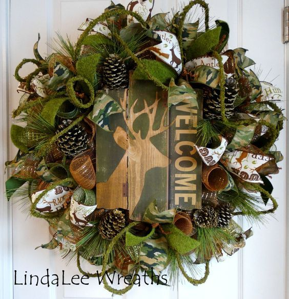 155) Wreath, Welcome Wreath, Camouflage Wreath, Deco Mesh Wreath, Country…