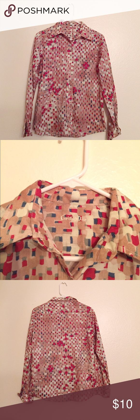 """Vintage Print Blouse Vintage tan button up blouse with colorful pattern. There's a """"Christian Dior"""" label embroidered at the collar. I bought this from a flea market in Los Angeles so I have no idea if this is authentic (hence the price). It's perfect tucked into skirts or layered underneath sweaters. Fits as a M but measurements are available upon request. Vintage Tops Blouses"""