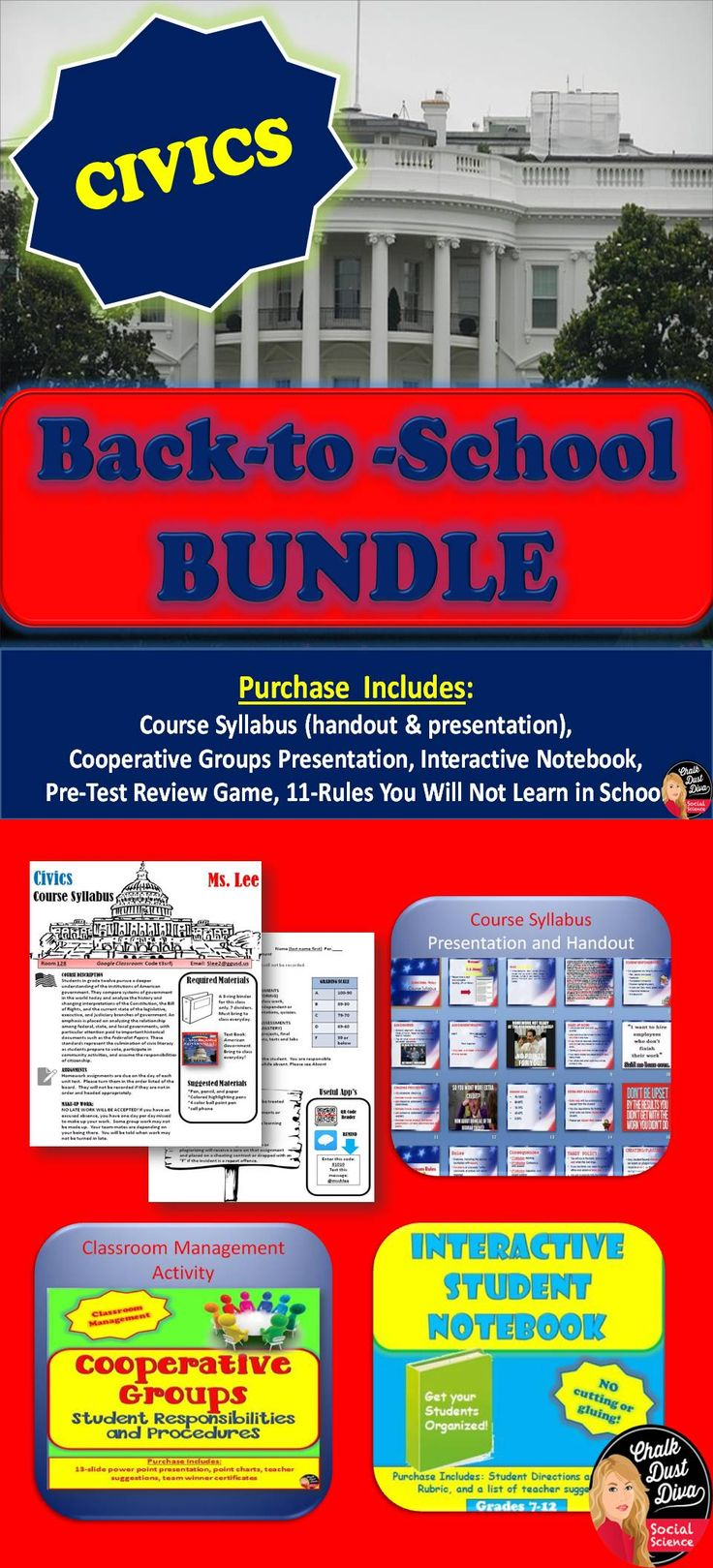Back-to-School Bundle for Civics/American Government. Grades 9-12. Everything you need for the first week of school!
