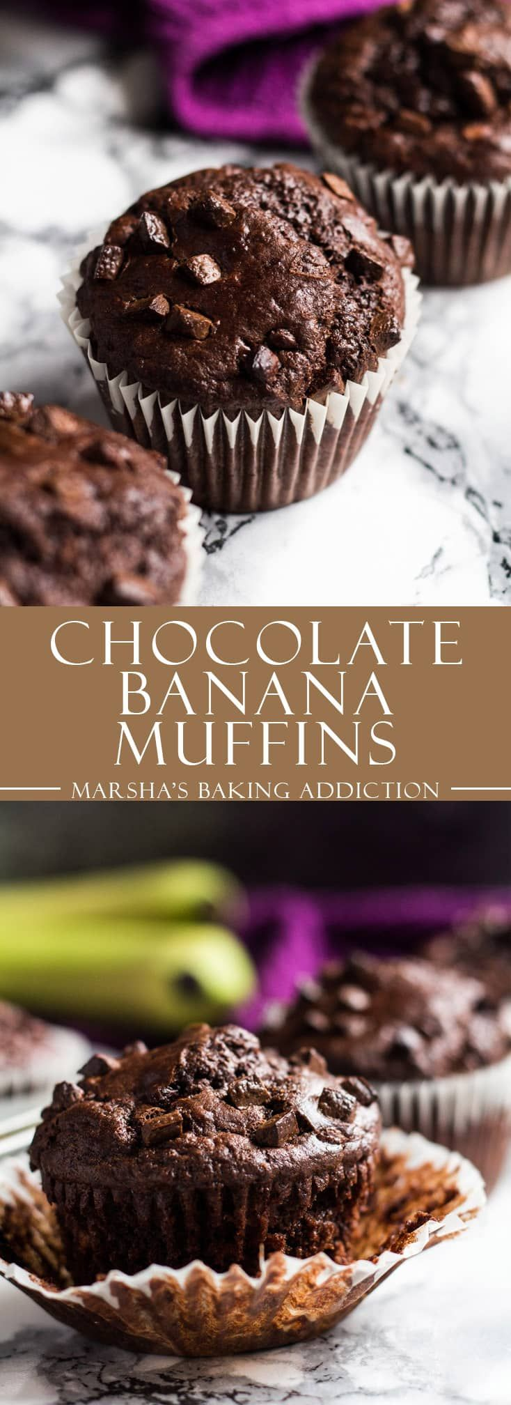 Chocolate Banana Muffins - Deliciously soft and moist chocolate muffins that are full of banana flavour, and studded with chocolate chips!